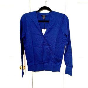 NWT Halogen Blue Faux Wrap Sweater size Medium